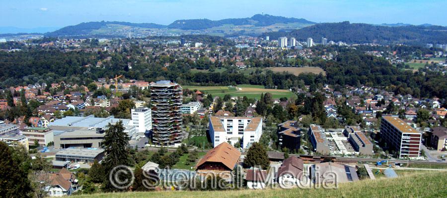 Blick vom Gurten auf den Ortsteil Wabern im Hintergrund die Berge